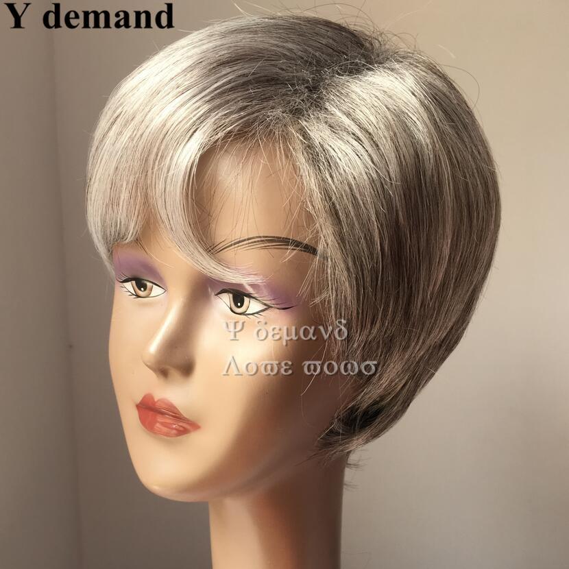 Short Hairstyles Gray White Mix Color Brazilian Malaysian Man Women