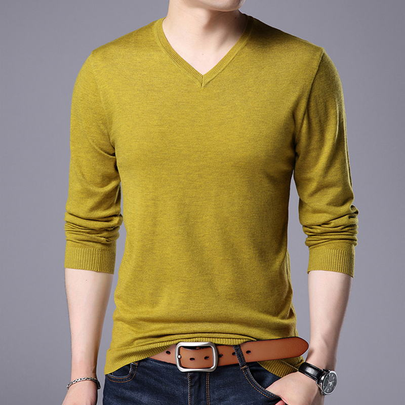 Hombres Pullover O-neck Slim Fit Knitting Hombres Long Sleeve Sweaters Fashion V-neck Mens Sweaters Big Size N5870