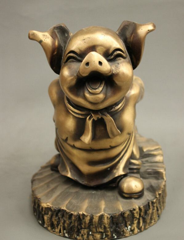 song voge gem S2827 9 Folk Chinese Bronze Buddha Journey to the West Myth Zhu Bajie Pig God Statue image