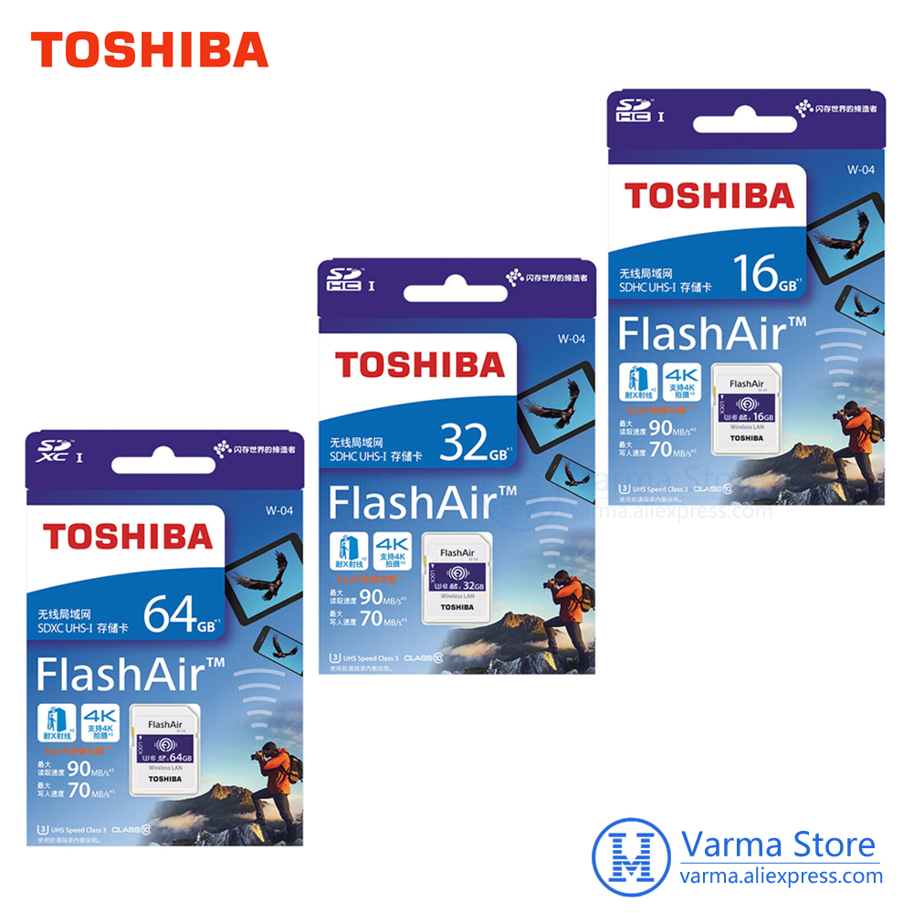 Toshiba Wifi karty SD, lustrzanka, aparat fotograficzny, pamięci karty szybkiego wsparcie 4 K bezprzewodowy karty SD 16 GB 32 GB 64GBWiFi SD karty pamięciKarty pamięci   -