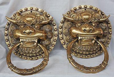 China Dynasty palace Pure Brass Iion Foo Fu Dog Statue Door knocker Pair