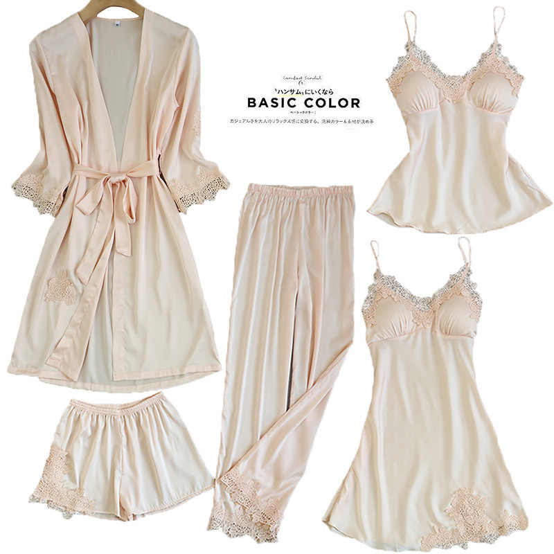 Kadın Pijama 5 adet saten Pijama Pijama ipek ev giyim ev giyim nakış uyku salonu Pijama göğüs yastıkları ile