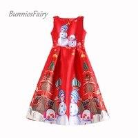 BunniesFairy New Womens Snowman Cartoon Print High Waist Red Vest Dress Christmas New Year Wedding Party