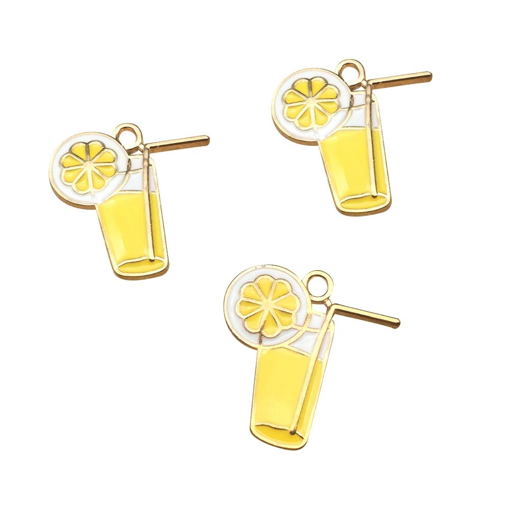 10pcs 20x24mm Lemon Cup Charms Enamel Charm For Jewelry Making And Crafting Charm Fashion Pendant