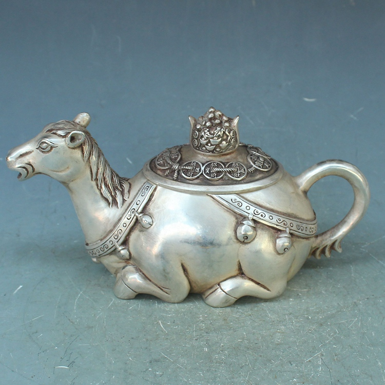 Antique old QingDynasty silver horse pot / flagon 2 ,handmade crafts,Decorationcollection&adornment,Free shipping