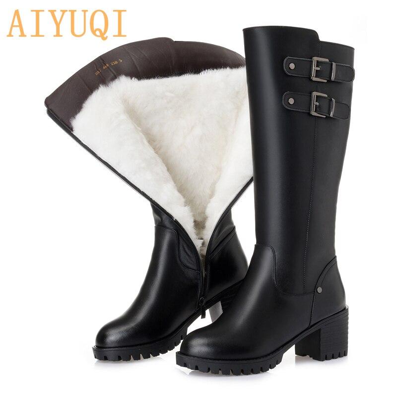 AIYUQI platform women high heel boots 2019 new genuine leather women winter boots big size 41