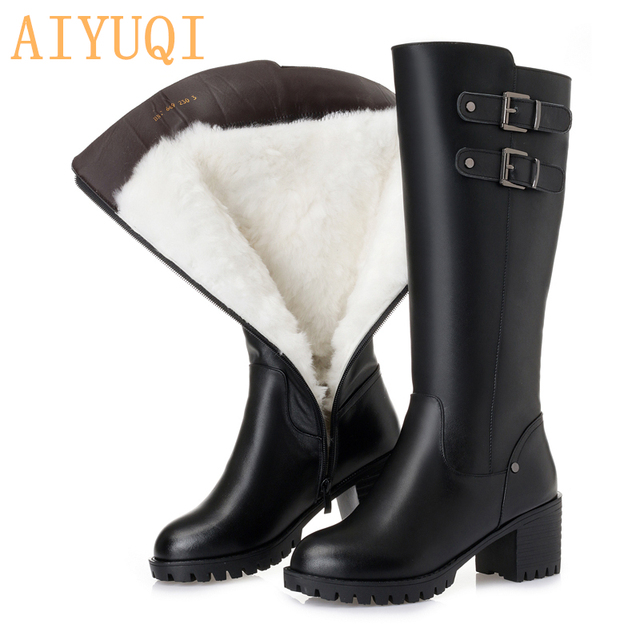 AIYUQI  platform women high heel boots 2019 new genuine leather women winter boots,big size 41 42 43 thick wool snow boots women