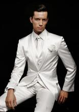FOLOBE Ternos Masculino Custom Made White Men Wedding Suits Groom Formal Business Suits Party Suits Blazer+Pants+Vest