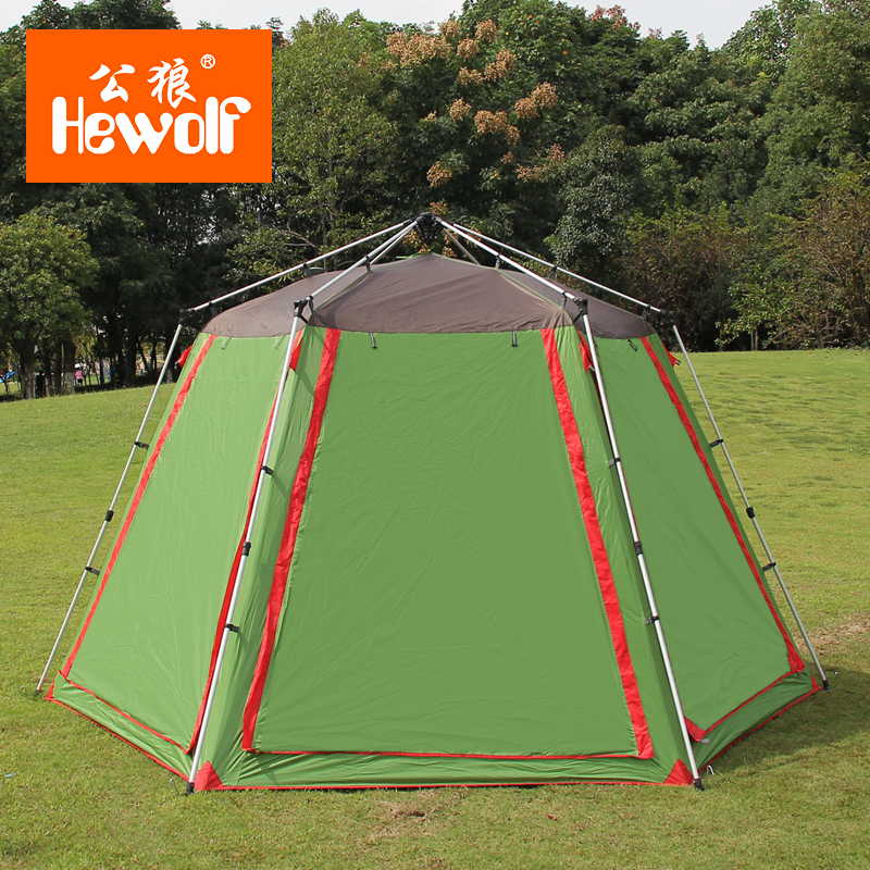 Hewolf 5-8 Person Family Party Tents Single Layer Ultralarge Automatic Camping Hiking Tents Hexagonal Family Party Camping Tents 2 layer ultralarge 4 8 person family party gardon beach camping hiking fishing bbq gazebo sun shelter mesh mosquito tent