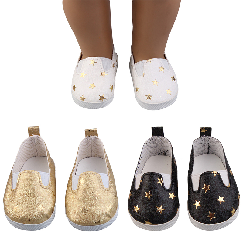 Sequins Sports Boots 7cm Shoes Fits 18 Inch Doll 43CM Zapf Baby New Born Dolls Reborn Baby Doll Shoes For Girl Doll Boots