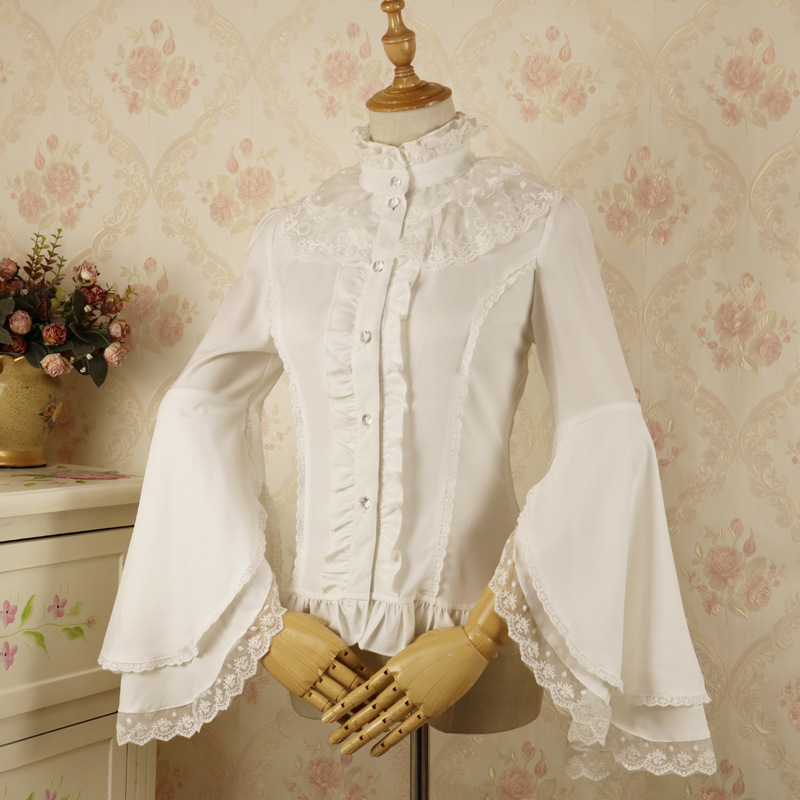 Black/White Flare Sleeve Female Lolita Blouse Vintage Lolita Chiffon Women's Shirt Sweet Lace Tops Ruffles Short Shirts