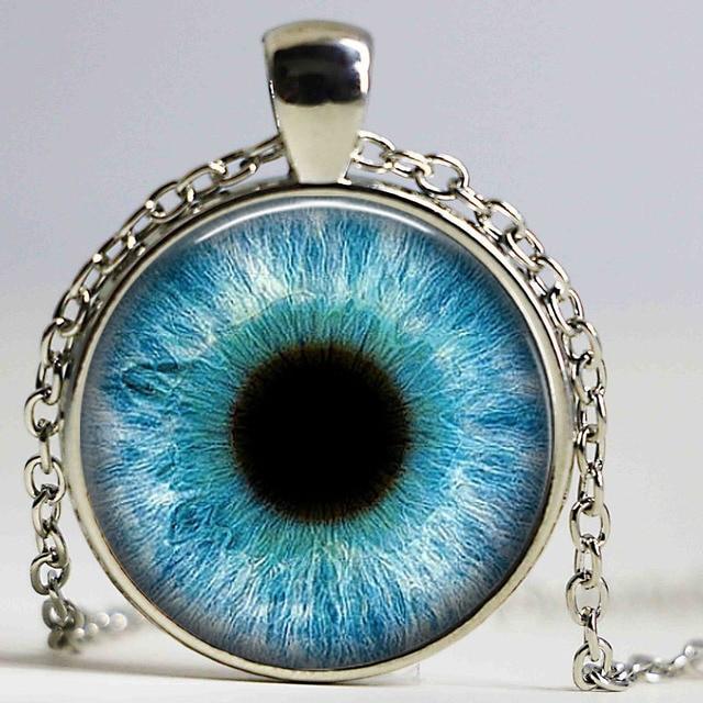8151712ce89fa7 1 PC Glass Photo Jewelry Dragon Eye Necklace,Cat Eye pendant Necklace,Blue  EyeGlass Dome Necklace jewelry