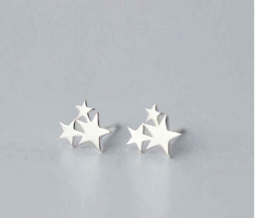 100% 925 Sterling Silver Three Star Stud Earrings For Women Prevent Allergy Brincos pendientes mujer moda 2018 Brincos A123