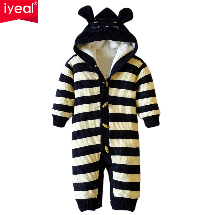 IYEAL Winter Baby Romper Sweater 2018 Long Sleeve Cotton Animal Cartoon Stripes Knit Sweater Outwear Coat for Infant boy girls women s new winter quilted jacket chunky puffer coat full zip spliced sweater hood padded outwear with knit sleeve