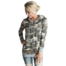 Enduring Newly design Womens Camouflage Printing Pocket Hoodie Sweatshirt Hooded Pullover Tops Blouse