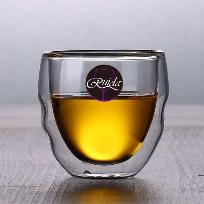 Brand 5 Size Lead free Double Wall Handmade Glass Heat Resistant Tea Coffee Drink Cup Insulated Clear Glass Whiskey Drinkware in Other Glass from Home Garden