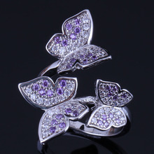Sparkly Butterfly Purple Cubic Zirconia White CZ 925 Sterling Silver Ring For Women V0487