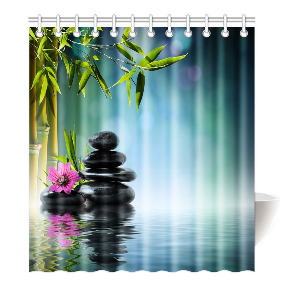 Shower Curtain Spa Garden with Bamboo Japanese Relaxation Printing ...