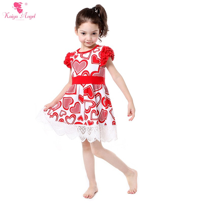 Girl party dress valentine s girls red heart ruffle