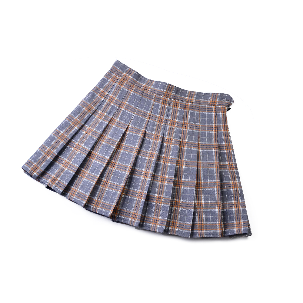 Мини-юбка, мягкая Летняя короткая юбка в клетку, легкая юбка трапециевидной формы, плиссированная юбка, удобная, 3 цвета, для девочек - Цвет: Gray