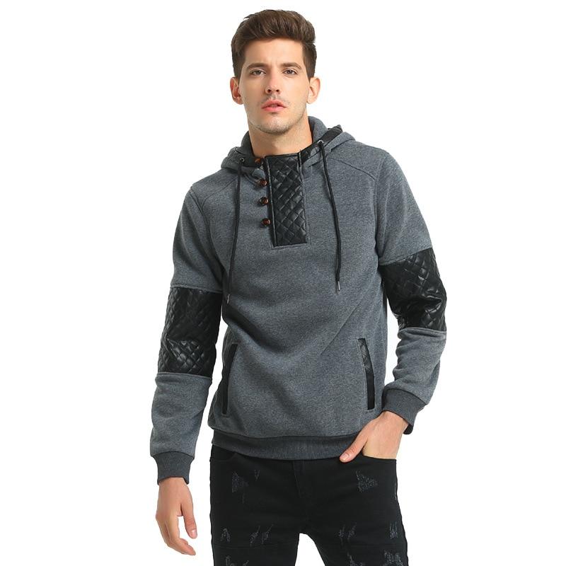 Fitness Autumn Men Hoodies Streetswear Casual Hoodies Sweatshirt Patchwork Male Pullover Tracksuit Winter Slim Hoodies Plus Size