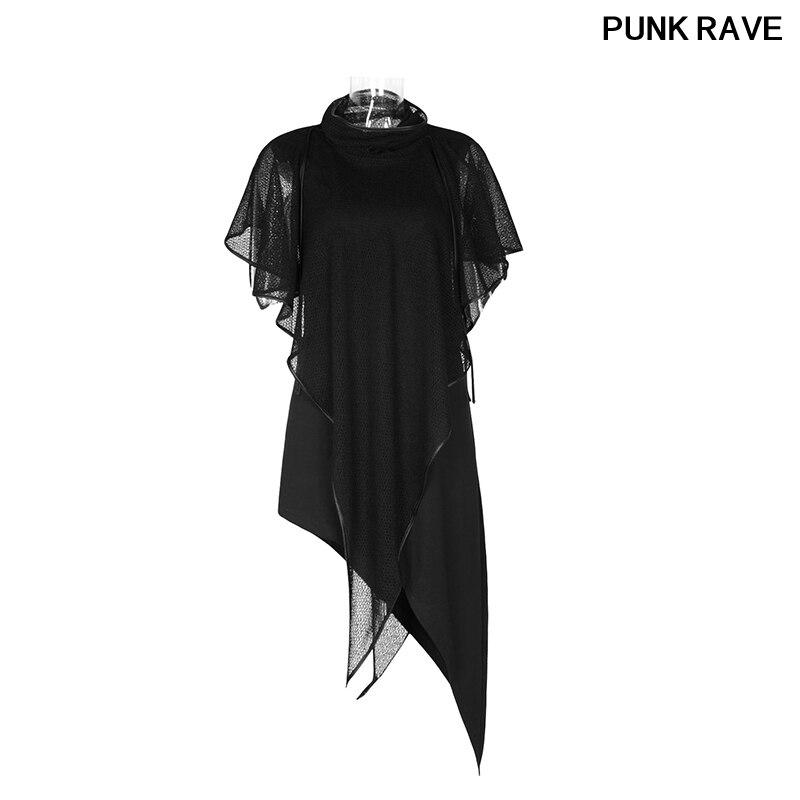 Rock Midi longueur maille châle tenue décontractée Goth soirée Club asymétrique ourlet noir sans manches robes PUNK RAVE PQ-102