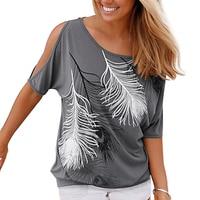 2016 Fashion Women Summer Off Shoulder Top Loose Plus Size Women Tops Feather Print Ladies Blouse