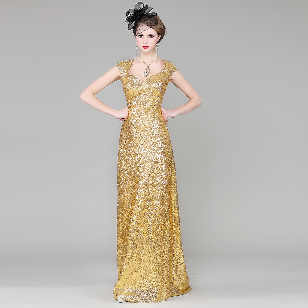 cheap Red sequined dress engagement Slim was thin golden gown host ...