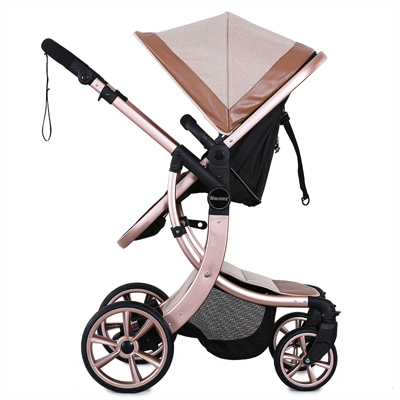 2017 Baby Stroller Europe New Luxury Baby Carriage 2 In 1 High Landscape Three Dimensional Four Round Stroller Cart 2 Car new luxury baby stroller high landscape three dimensional four round baby stroller