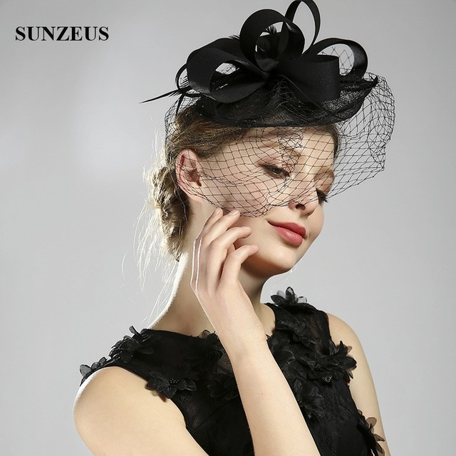 b4c0d5b637d07 Black Wedding Party Hats With Face Veil Bridal Headwear Feathers Linen Hat  For Brides Fascinator SQ225