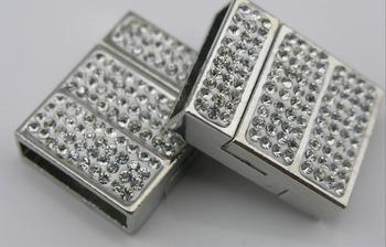 20pcs Hole Size 20x5mm Strong Magnetic Clasp with Clear 888 Rhinestone Beads