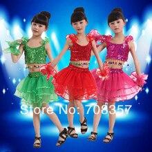 Os Recém-chegados Sem Mangas Ballroom Vestido da Dança do Miúdo com Tassel Lantejoula Top camisa e Saia Tutu Stage Dance Wear Set para meninas