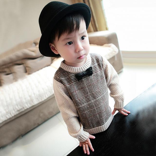 Novas Crianças Meninos pullover Blusas Inglaterra xadrez Pullover Camisolas O Pescoço roupa das Crianças para o bebê meninos cavalheiro 2-6 T