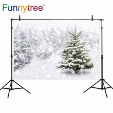 Funnytree backdrop for photographic studio winter snow pine forest Christmas cold nature view professional background photocall
