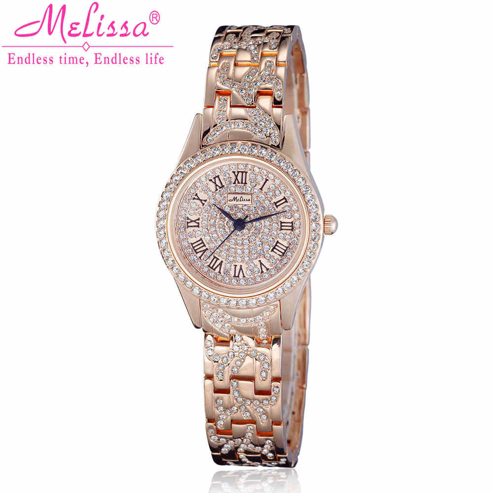 Melissa Lady Women's Watch Quartz Hours Jewelry Fashion Dress Bracelet Luxury Crystal Rhinestone Girl Birthday Gift Original fashion modern silver crystal flower quartz pocket watch necklace pendant women lady girl birthday gift relogio de bolso antigo