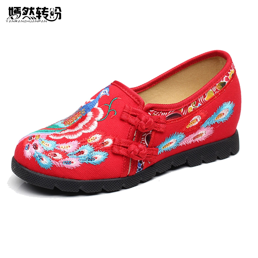 Vintage Flats Shoes Women Casual Cotton Peacock Embroidered Cloth Flat Ankle Buckles Ladies Canvas Platforms Zapatos Mujer vintage women pumps flowers embroidered ankle buckles canvas platforms ladies soft casual old beijing shoes zapatos mujer