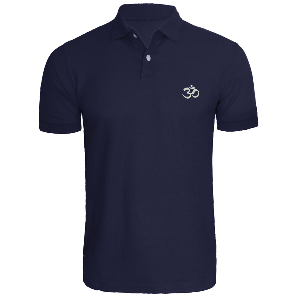 Mens Aum Om Ohm India Symbol Embroidered Polo Shirts