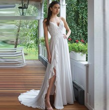Summer Spaghetti Straps A-Line Boho Beach Wedding Dresses Chiffon Skirt Side Slit Bridal Gown Lace Appliqued Custom Made
