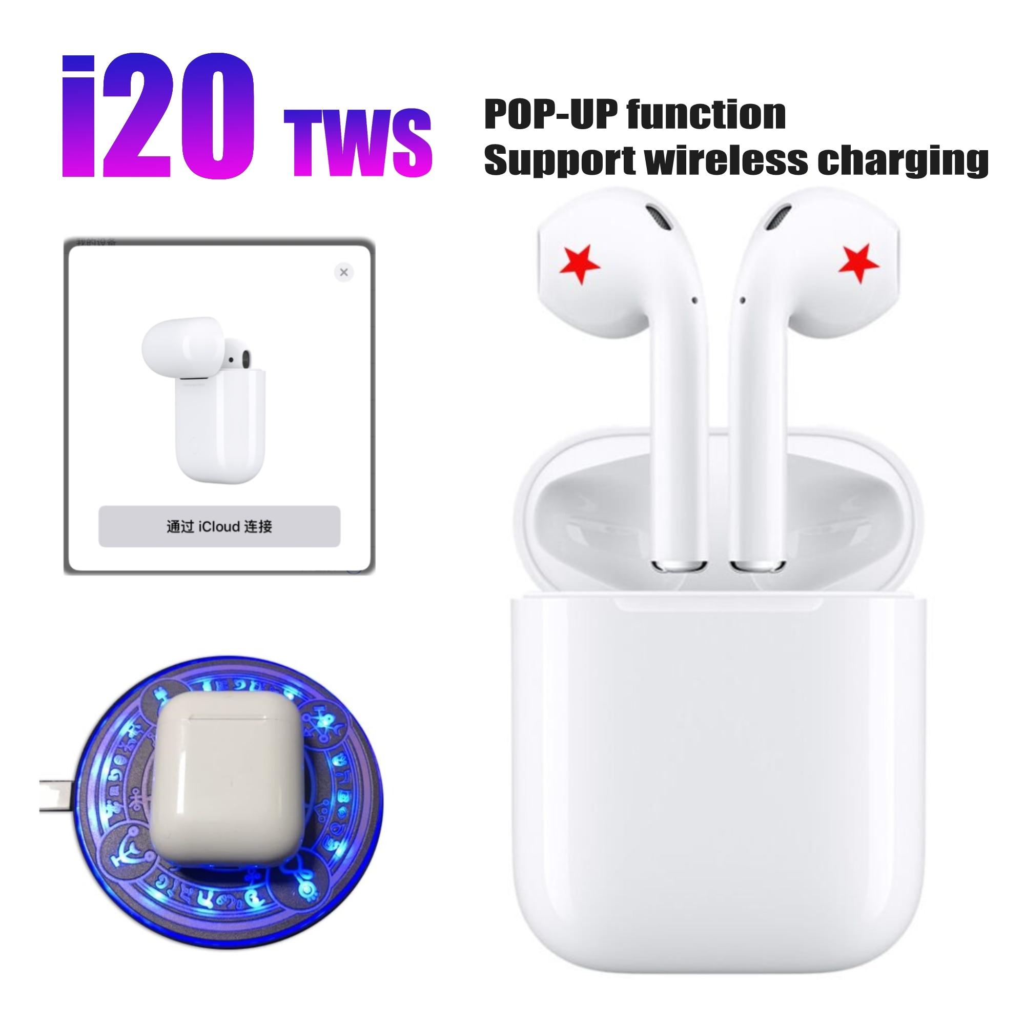 Новые i20 TWS Pop up Bluetooth 50 наушники 4D супер бас звук наушники беспроводные наушники для всех смартфонов лучше i10 i15tws купить на AliExpress