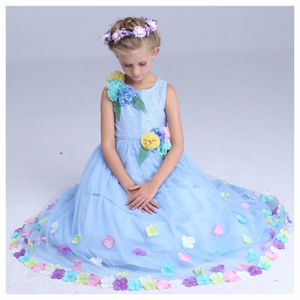 Beauty Wedding Girls Dress Party Princess Costumes Elegant Flower Fairy Cinderella Pageant Vestido Dresses Kids Clothing