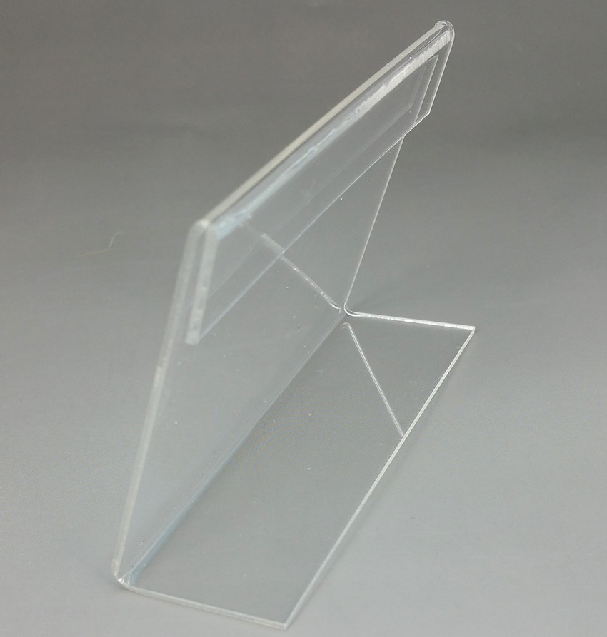 Transparent 120x80mm L Shape PMMA Acrylic Plastic Table Sign Price Tag Label Display Paper Promotion Card Holder Stand 100pcs