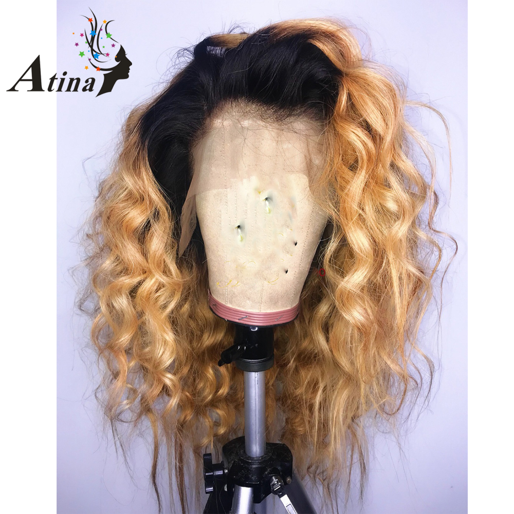 Honey Blonde Colored Ombre Invisible Lace Front Human Hair Wigs Closure Wig Pre Plucked With Baby Hair Wavy Brazilian Remy Hair