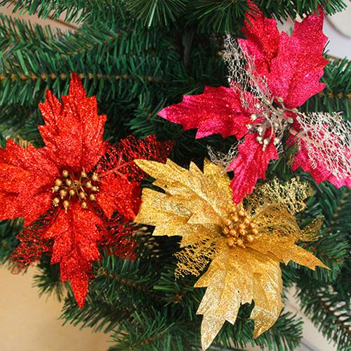 hot sale hollow glitter poinsettia fake flower christmas tree wedding party - Christmas Poinsettia