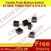 1 лот = 50 шт. Тактильные кнопочный Настенные переключатели сбоку три Средства ухода за кожей стоп 4.5*4.5*3.8 dip-3s стороны приводом черный seriestc-0514