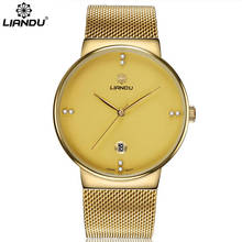 цены Top Luxe Merk  LIANDU mannen Ultradunne Horloges Mannen Casual Gold Mesh Band Quartz Horloge Waterdicht Horlo
