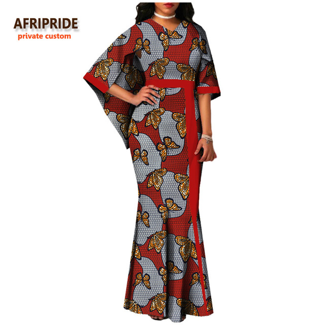 AFRIPRIDE private custom  african women clothing cloak sleeves V-neck pleated maxi dress for women plus size pure cotton A722553