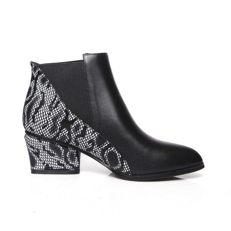Bottes À Patchwork Top Femmes Cuir Produit Hiver Automne Chaussures En Cheville Main Noir La Pur Véritable A0nOqAxv