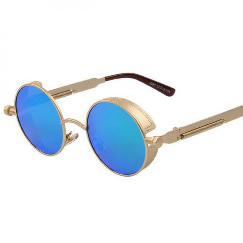 34adf97285 New Gothic Steampunk Mens Sunglasses Coating Mirrored Sunglasses Round  Circle Sun glasses Retro Vintage Gafas Masculino Sol
