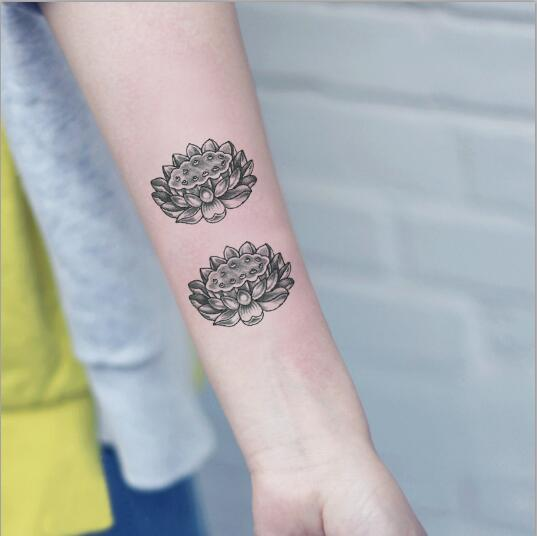 2241a18d19707 Waterproof Temporary Fake Tattoo Stickers 3D Grey Lotus Flowers Vintage  Design Body Art Make Up Tools
