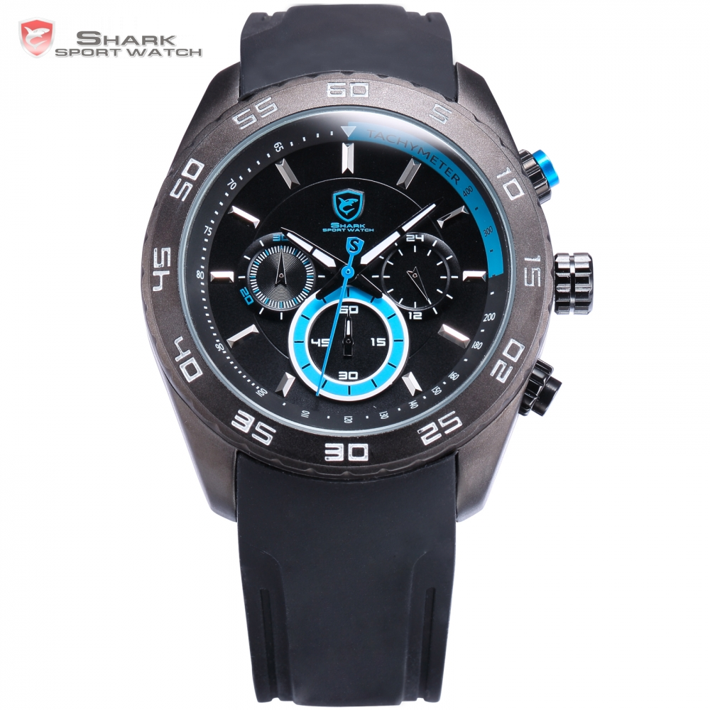 Male 6 Hands Waterproof Spinner Shark Sport Watch Clock Blue Silicone Band Chronograph Analog Men's Hours Quartz-watch/ SH258 shark sport watch brand 6 hands 3d logo